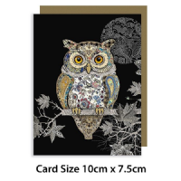 Owl Gold Foil Art Embossed, MINI CARDS, Pack of 3